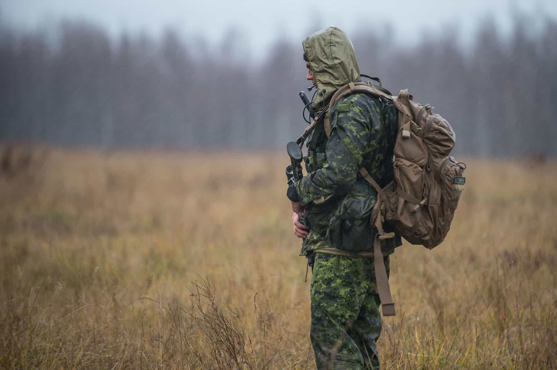 Canadian Forces Soldier standing in rain