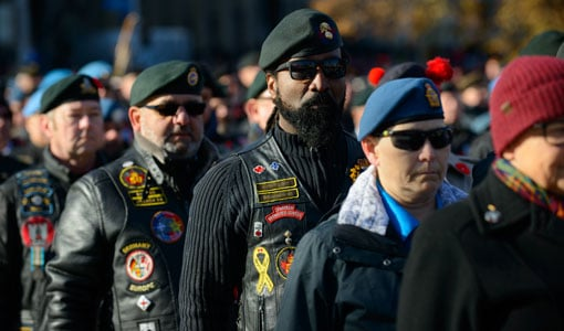 Canadian Veterans marching